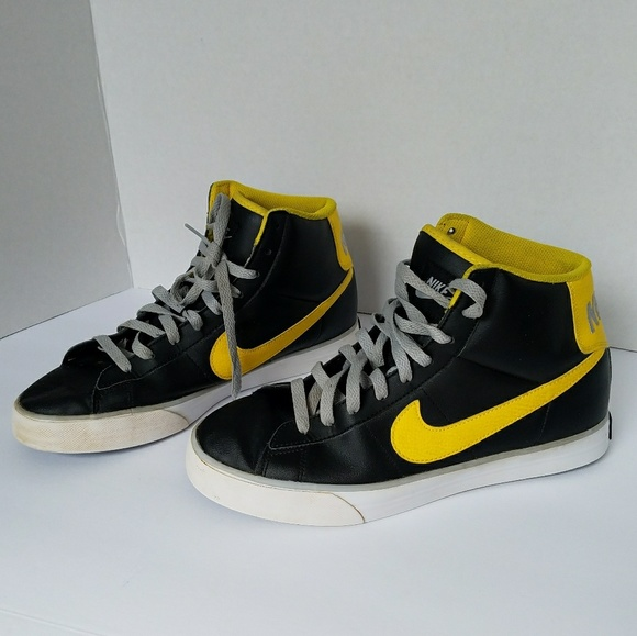 nike yellow and black high tops
